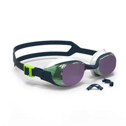 泳鏡500 B-FIT - 藍色/綠色,鏡面鏡片