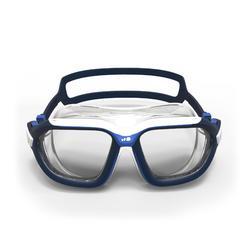 Zwembril 500 Active maat L wit/blauw heldere glazen