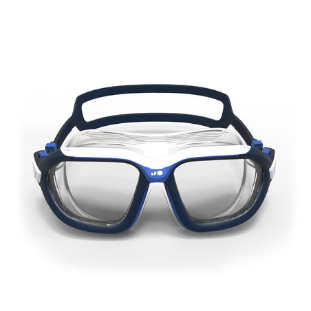 SWIMMING POOL MASK ACTIVE SIZE L CLEAR LENSES - WHITE / BLUE