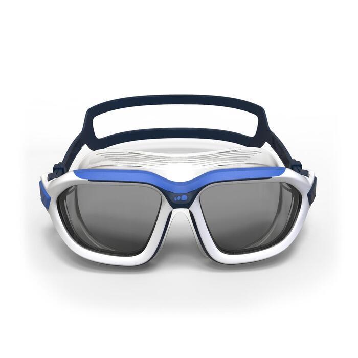Masque de natation 500 ACTIVE taille L Blanc Bleu verres fumés