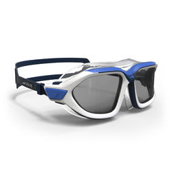 500 ACTIVE Swimming Mask, Size L - White Blue, Smoke lenses