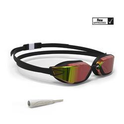 泳鏡900 B-FAST - 黑色/紅色,鏡面鏡片