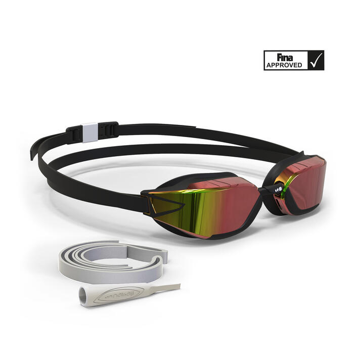 B-FAST Swimming Goggles 900 - Black Red Mirror Lenses