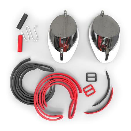 Окуляри-шведки 900 для плавання, дзеркальні лінзи - Білі/Червоні
