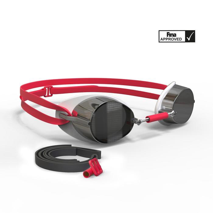 Zweedse zwembril spiegelglas 900 wit/rood