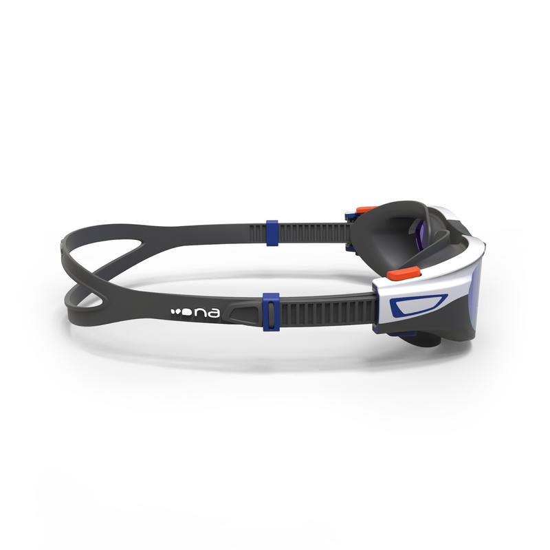 500 SPIRIT Swimming Goggles, Size S - Orange Blue, Mirror Lenses