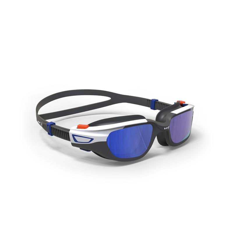 Kacamata Renang 500 SPIRIT, Ukuran S - Jingga Biru, Lensa Mirror