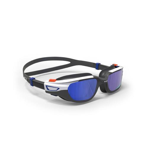 lunettes de piscine 500 spirit taille S orange bleu verres miroir