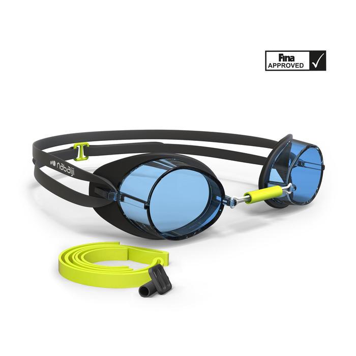 Gafas Natación Piscina Nabaiji Adulto Negro/Amarillo Competición Suecas Antivaho
