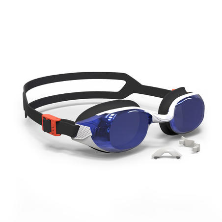 B-FIT 500 Swimming Goggles Orange Blue Mirrored Lenses