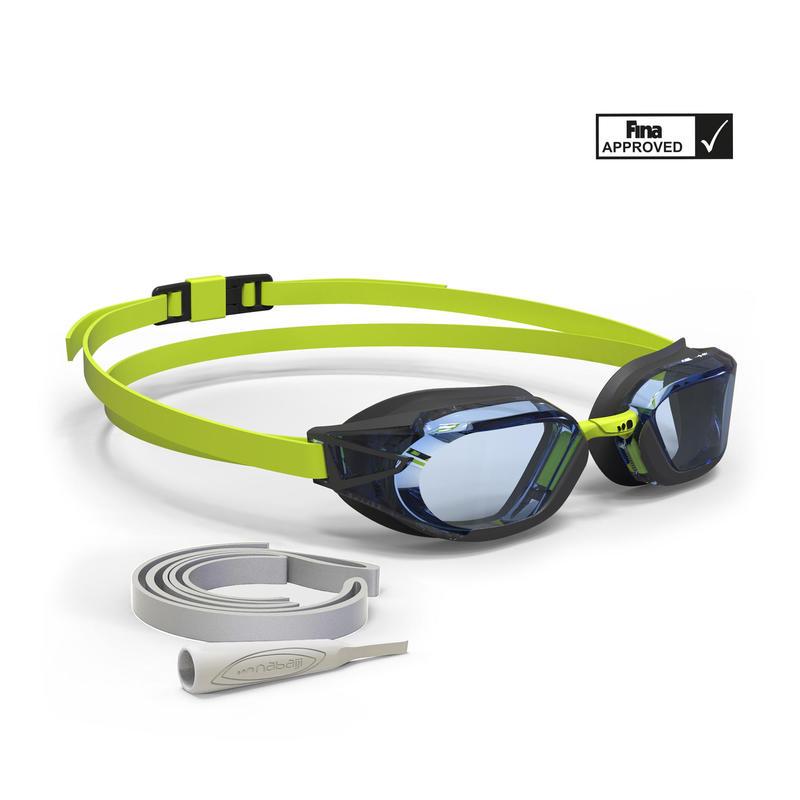 B-FAST Swimming Goggles 900 - Black Green Clear Lenses