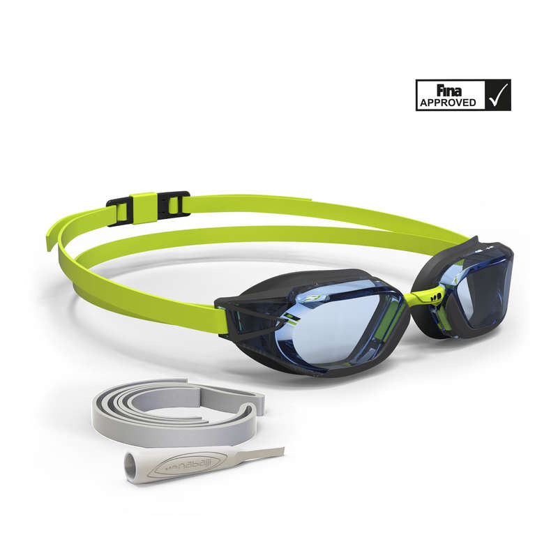 GLASÖGON ELLER MASKER FÖR SIMNING Simning - Glasögon BFAST 900 svart/grön NABAIJI - Öppet vatten simning (OW)