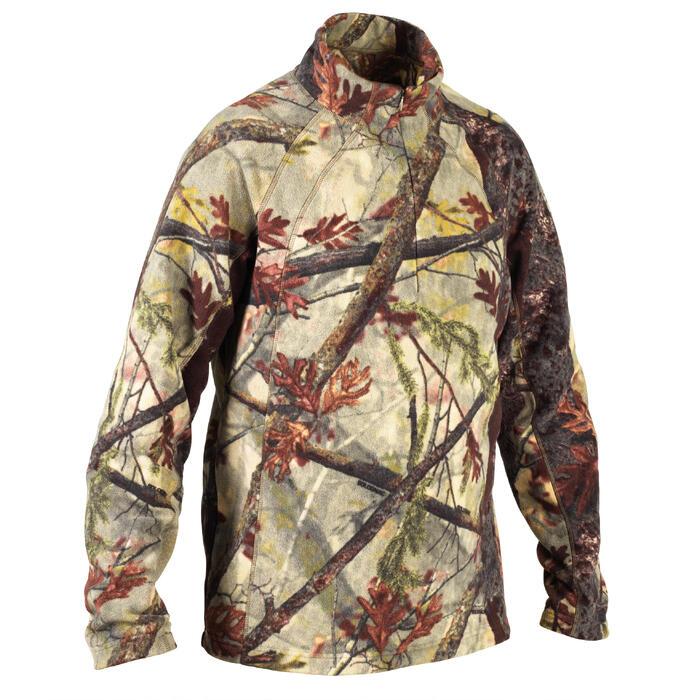 Geluidloze camouflage fleece voor de jacht 100 bos