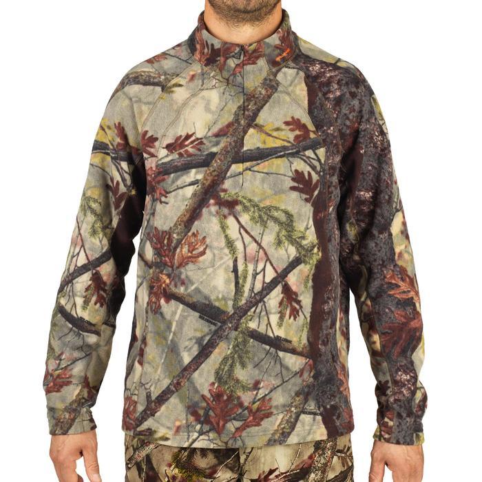 Geluidloze camouflage fleece voor de jacht 100 boscamouflage