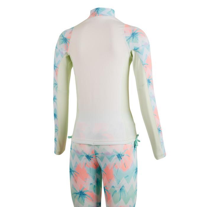 Top Camiseta Proteción Solar Playa Surf Olaian Top500 Niña Blanco Verde ANTI-UV
