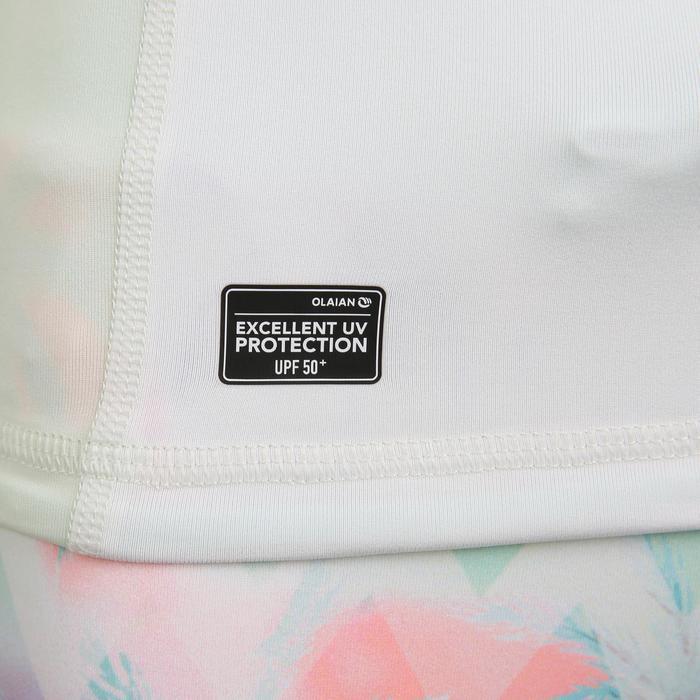 Uv-werende rashguard met lange mouwen voor meisjes 500 wit