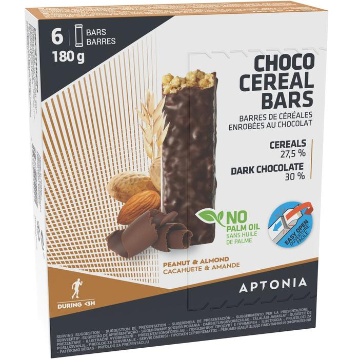 Barrita cereales cobertura chocolate negro con almendras y cacahuetes 6 x 30 g
