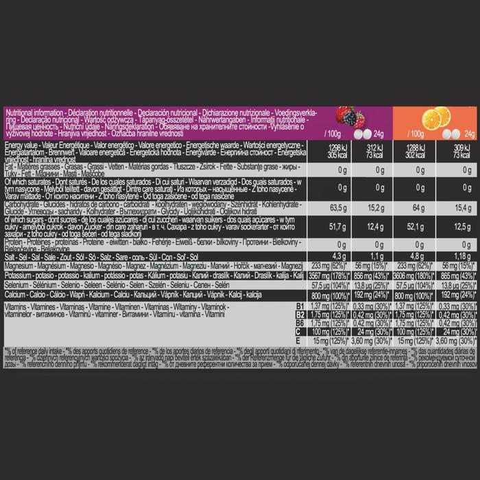 Isotone dorstlesser in tabletformaat sinaas (x10) en rode vruchten (x5)