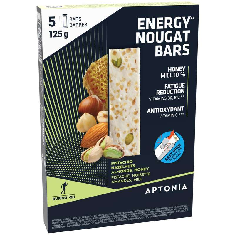 BARS, GELS & AFTER Outdoor Equipment - ENERGY BAR 5X25 G NOUGAT APTONIA - Outdoor Equipment