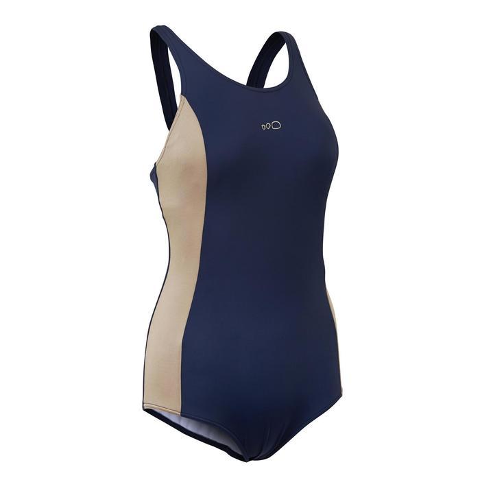 女款單件式連身泳裝Vega - 藍色金色