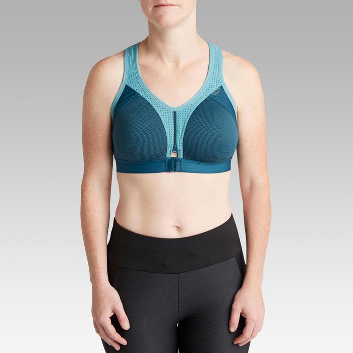 大尺寸拉鍊跑步短版上衣 - 藍色/灰色