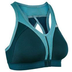 Sportbeha voor hardlopen grote maten rits grijsblauw / turquoise