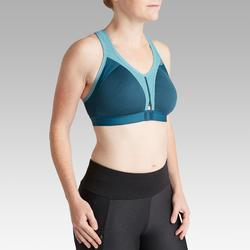 EASY ZIP RUNNING SPORTS BRA BLUE GREY/TURQUOISE