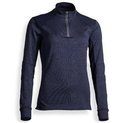 Reit-Poloshirt langarm 500 warm Damen marineblau