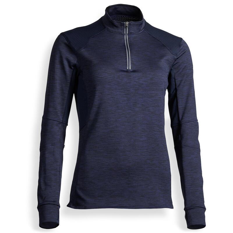 Dámské jezdecké polo tričko 500 WARM s dlouhým rukávem námořnicky modré