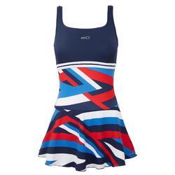 女款單件式連身泳裝Loran - Cros藍色