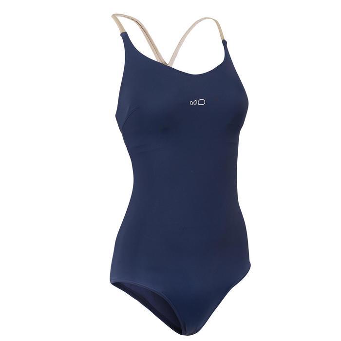 女款單件式連身泳裝Riana - Reci藍色金色