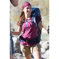 T-shirt mérinos trekking montagne TREK500 manches courtes femme violet