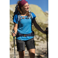 T-shirt voor dames voor bergtrekking met korte mouwen Trek 500 merinowol blauw