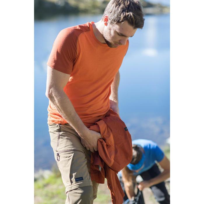 Camiseta Manga Corta Montaña y Trekking Forclaz 500 Lana Merina Hombre Naranja