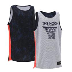 T500R Boys'/Girls' Intermediate Basketball Reversible Jersey - Navy/Grey Hoop