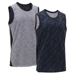 Reversible Sleeveless Basketball Jersey, Intermediate Players - Navy/Grey