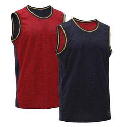 雙面籃球背心,適合中階籃球員-紅色/軍藍色