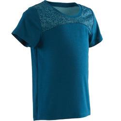 Camiseta Manga Corta Deportiva Gimnasia Domyos 500 Bebé Azul
