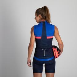 Mouwloos fietsshirt 900 voor dames marineblauw/blauw