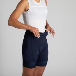 Fietsbroek voor dames 900 zonder bretels marineblauw