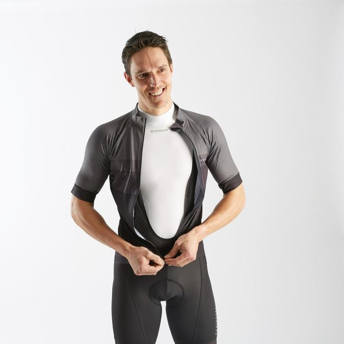 Wielershirt RR500 korte mouwen voor heren grijs/zwart