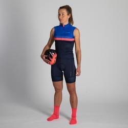 Mouwloos wielershirt RR900 voor dames marineblauw/blauw