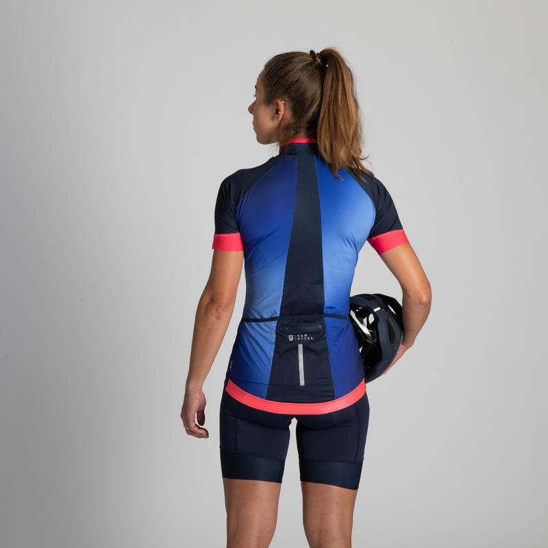 900 Women's Short-Sleeved Cycling Jersey - Blue Shaded Design