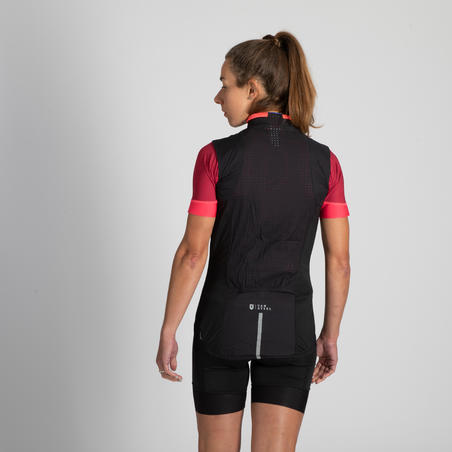 Women's Windproof Packable Road Cycling Gillet - Black