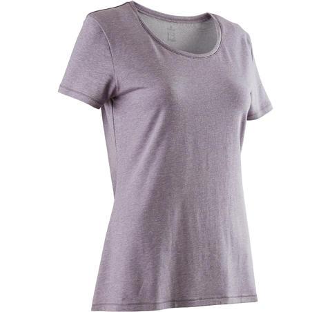 500 Women's Regular-Fit Gentle Gym & Pilates T-Shirt - Heathered Mauve