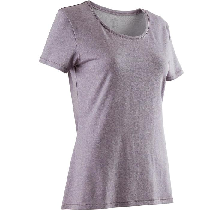T-Shirt 500 Regular Gym & Pilates Damen lila meliert