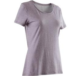 T-shirt 500 regular fit pilates en lichte gym dames gemêleerd zachtpaars
