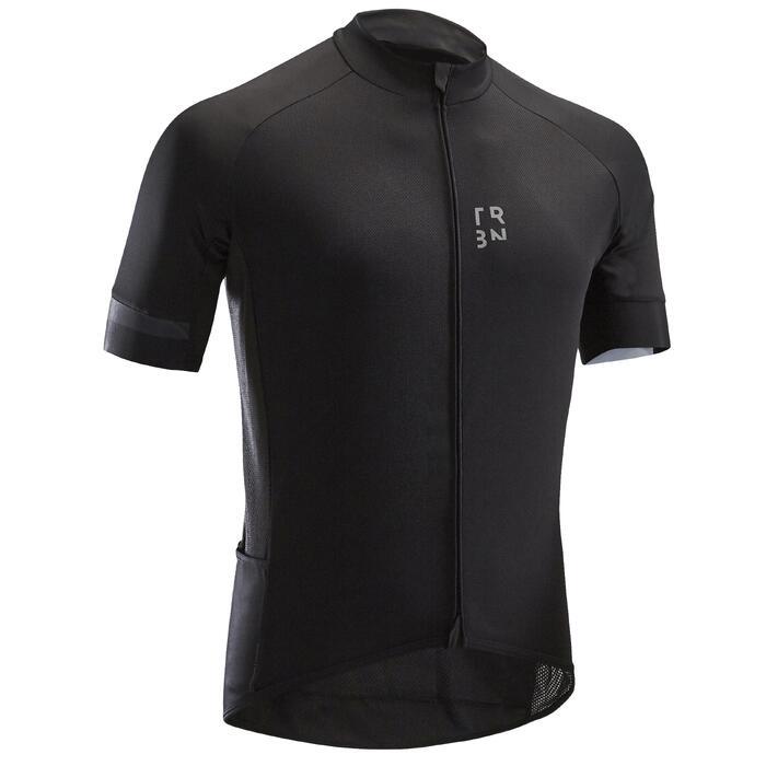 Maillot bici carretera mangas cortas Hombre Tiempo Cálido RC500 negro