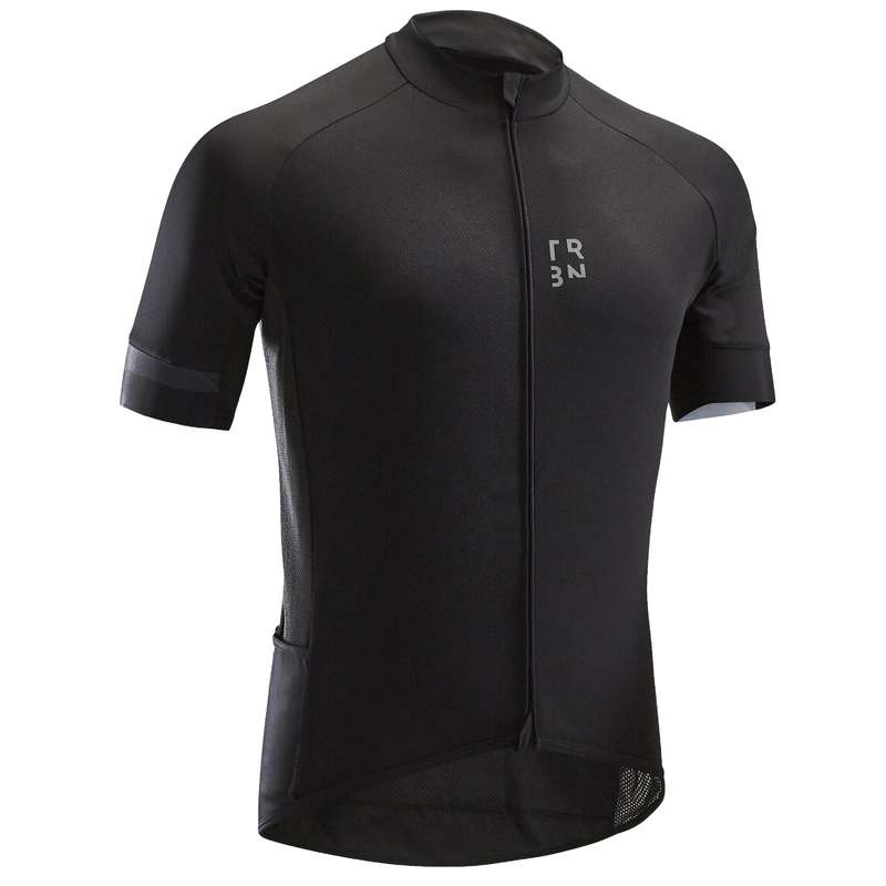 MEN WARM WEATHER ROAD CYCLING APPAREL - RC 500 Short Sleeve Cycling Jersey - Black TRIBAN