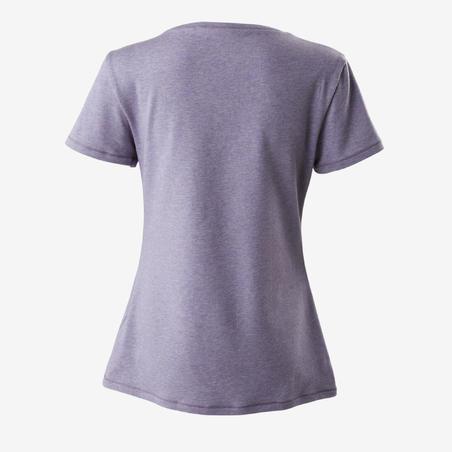 Kaus Pilates & Gym Ringan Regular-Fit Wanita 500 - Heathered Mauve